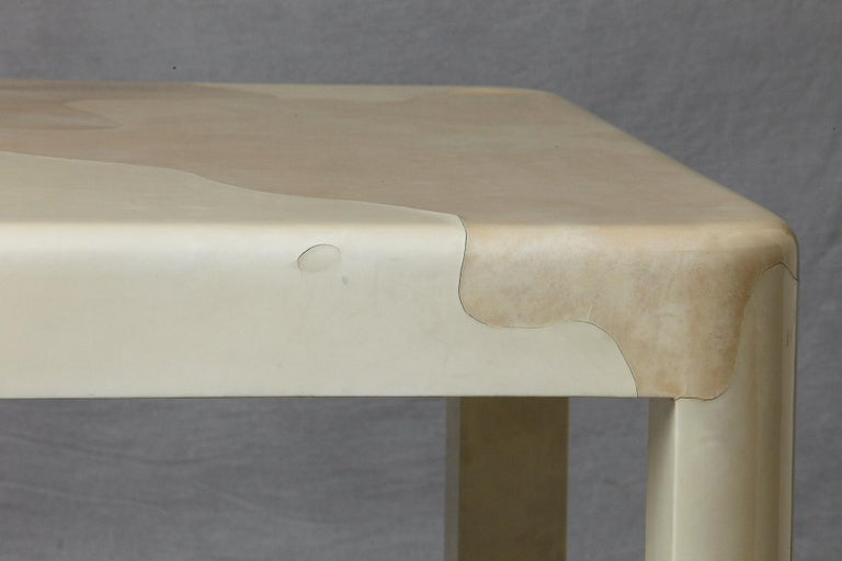 Goatskin Covered Square Dining Table by Karl Springer For Sale 5