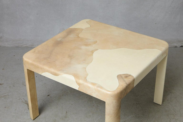 Goatskin Covered Square Dining Table by Karl Springer For Sale 1