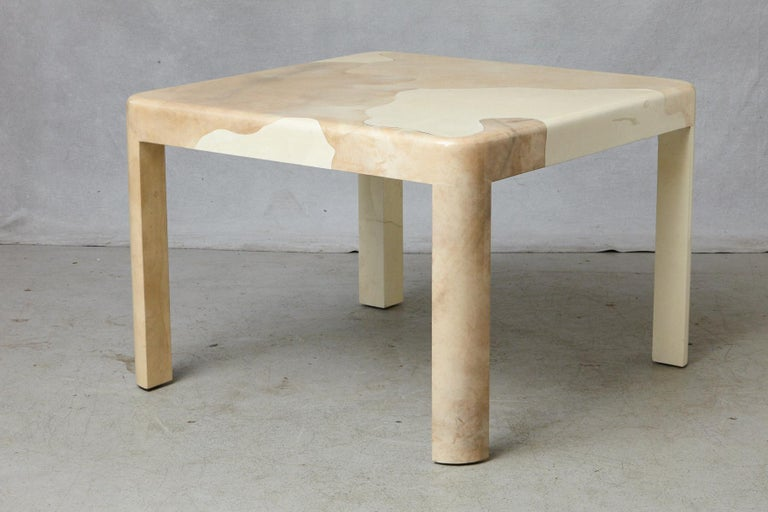 Late 20th Century Goatskin Covered Square Dining Table by Karl Springer For Sale