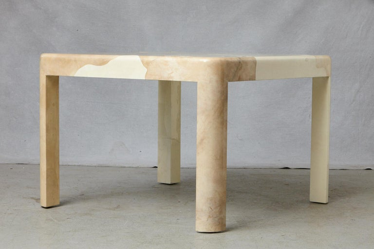 Goatskin Covered Square Dining Table by Karl Springer For Sale 13