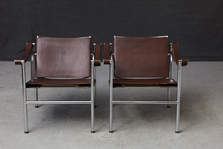 Bauhaus Rare Pair of Original Le Corbusier 'Corbu' Chairs 'LC1', from Wohnbedarf 1960s For Sale