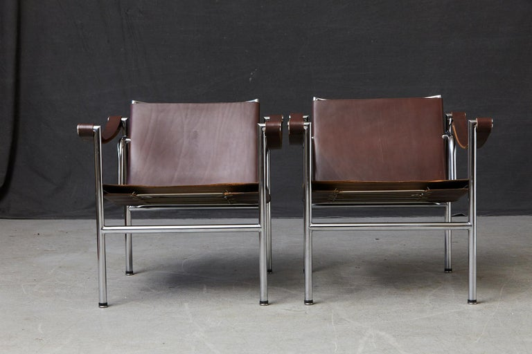 Swiss Rare Pair of Original Le Corbusier 'Corbu' Chairs 'LC1', from Wohnbedarf 1960s For Sale