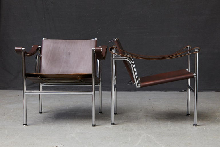 Mid-20th Century Rare Pair of Original Le Corbusier 'Corbu' Chairs 'LC1', from Wohnbedarf 1960s For Sale