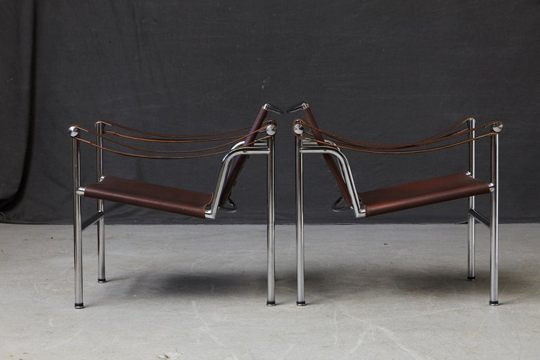 Leather Rare Pair of Original Le Corbusier 'Corbu' Chairs 'LC1', from Wohnbedarf 1960s For Sale