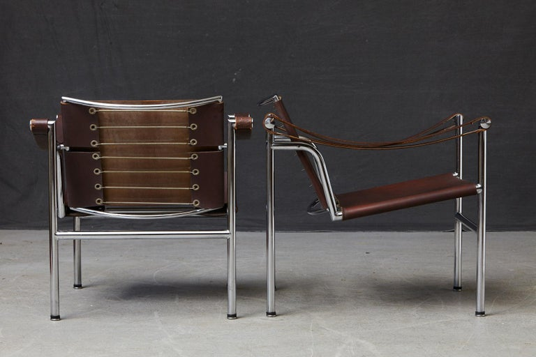 Rare Pair of Original Le Corbusier 'Corbu' Chairs 'LC1', from Wohnbedarf 1960s For Sale 1
