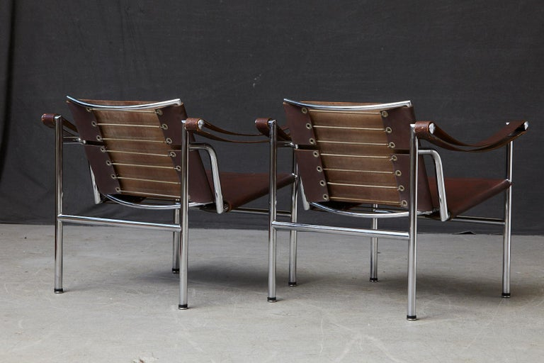Rare Pair of Original Le Corbusier 'Corbu' Chairs 'LC1', from Wohnbedarf 1960s For Sale 2
