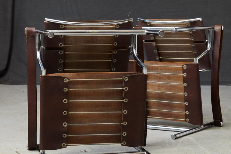 Rare Pair of Original Le Corbusier 'Corbu' Chairs 'LC1', from Wohnbedarf 1960s For Sale 8