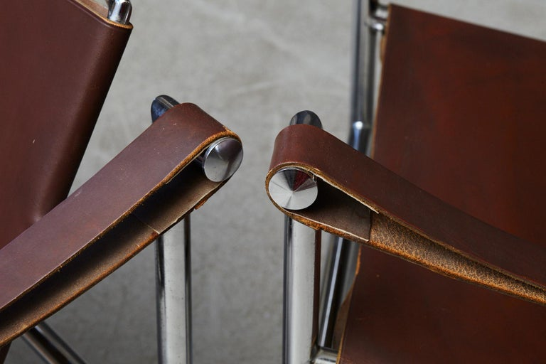 Rare Pair of Original Le Corbusier 'Corbu' Chairs 'LC1', from Wohnbedarf 1960s For Sale 9