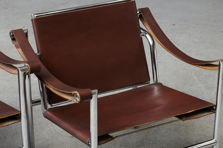 Rare Pair of Original Le Corbusier 'Corbu' Chairs 'LC1', from Wohnbedarf 1960s For Sale 11