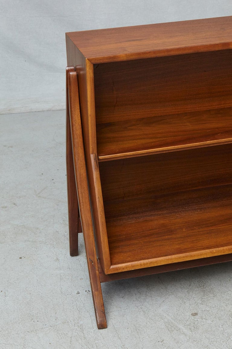 Walnut A-Frame Bookcase by Kipp Stewart the Collection Declaration by for Drexel In Good Condition For Sale In Westport, CT