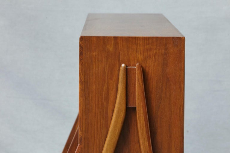 Walnut A-Frame Bookcase by Kipp Stewart the Collection Declaration by for Drexel For Sale 1