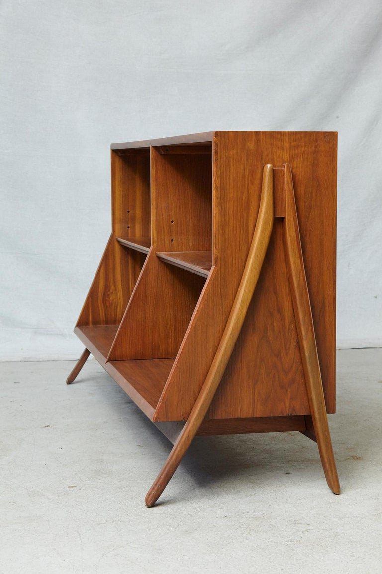 Walnut A-Frame Bookcase by Kipp Stewart the Collection Declaration by for Drexel For Sale 3
