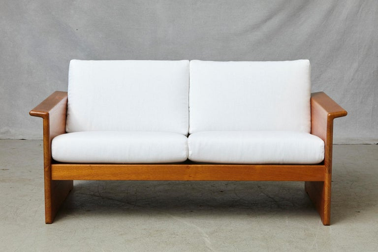 20th Century Two Newly Upholstered Tarn Stole Solid Teak Love Seats / Two-Seat, circa 1980s For Sale
