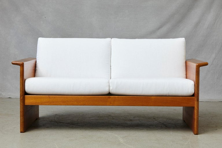 Linen Two Newly Upholstered Tarn Stole Solid Teak Love Seats / Two-Seat, circa 1980s For Sale