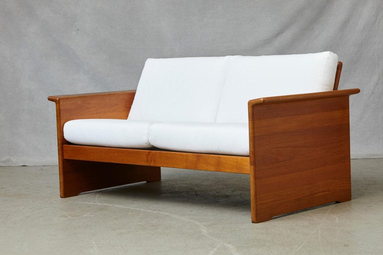 Two Newly Upholstered Tarn Stole Solid Teak Love Seats / Two-Seat, circa 1980s For Sale 2