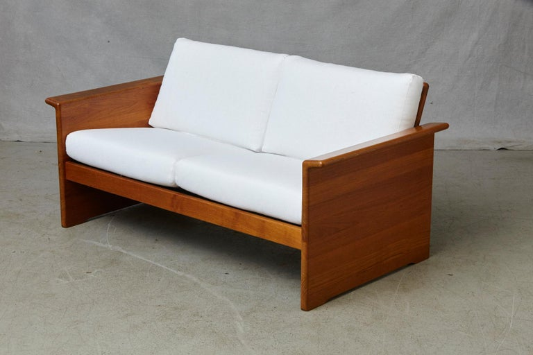Two Newly Upholstered Tarn Stole Solid Teak Love Seats / Two-Seat, circa 1980s For Sale 3