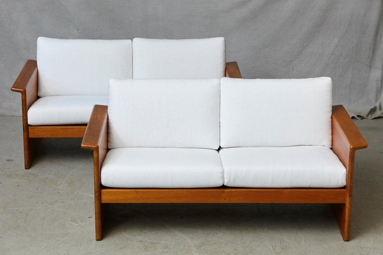 Mid-Century Modern Two Newly Upholstered Tarn Stole Solid Teak Love Seats / Two-Seat, circa 1980s For Sale