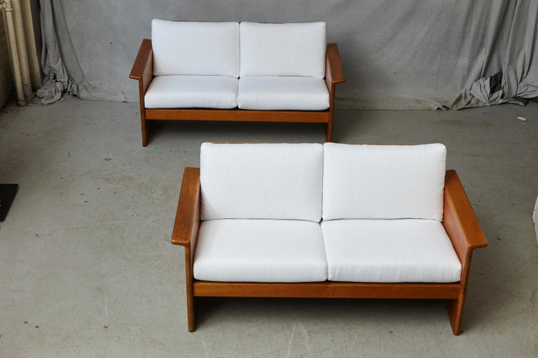 Danish Two Newly Upholstered Tarn Stole Solid Teak Love Seats / Two-Seat, circa 1980s For Sale