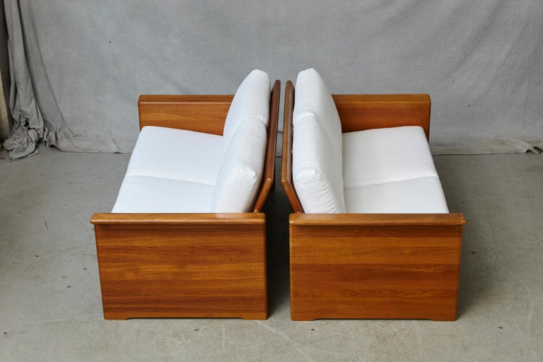 Two Newly Upholstered Tarn Stole Solid Teak Love Seats / Two-Seat, circa 1980s In Good Condition For Sale In Westport, CT