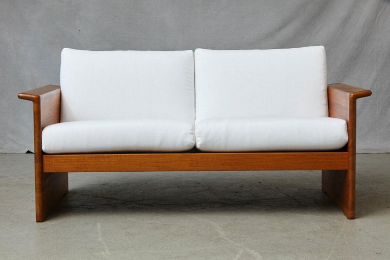 Two Newly Upholstered Tarn Stole Solid Teak Love Seats / Two-Seat, circa 1980s For Sale 8