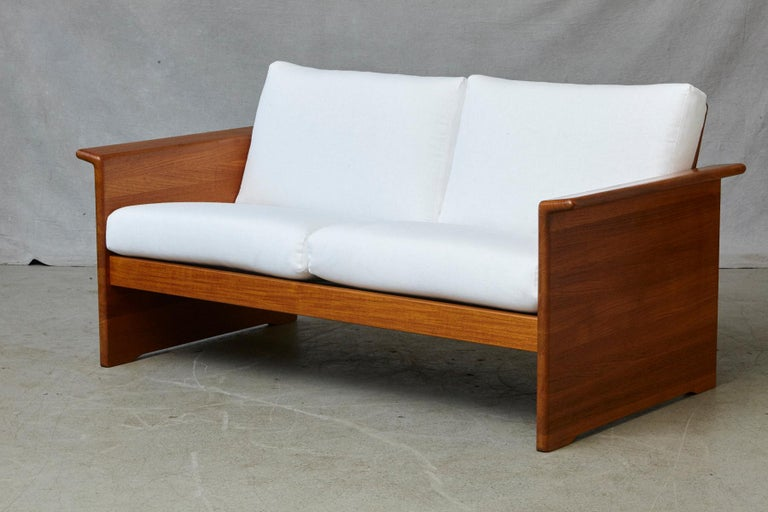 Two Newly Upholstered Tarn Stole Solid Teak Love Seats / Two-Seat, circa 1980s For Sale 9