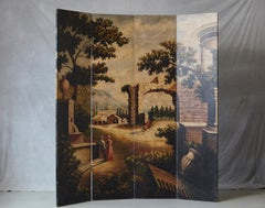 Four Panel Hand Painted Screen Featuring a Landscape with Architectural Motifs