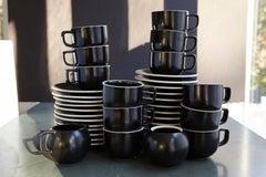 Japanese Sasaki Matte Black Coffee Service for 12, Designed by Massimo Vignelli