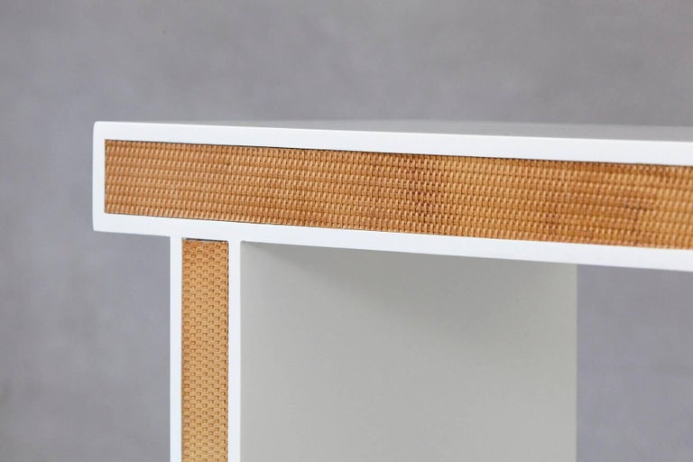 Modern Minimalistic Console with Rattan Siding in New Dove White Gloss Lacquer For Sale 4