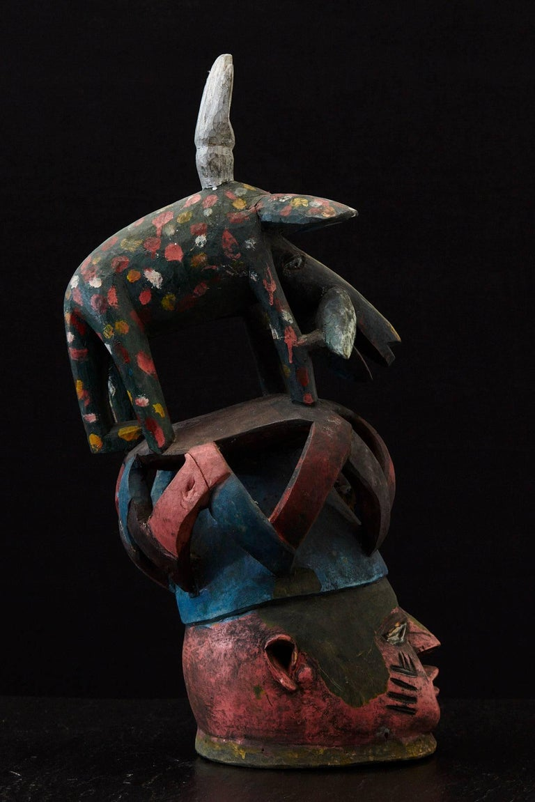 Wood Gelede Headdress, Yoruba People, Nigeria, circa 1950s For Sale