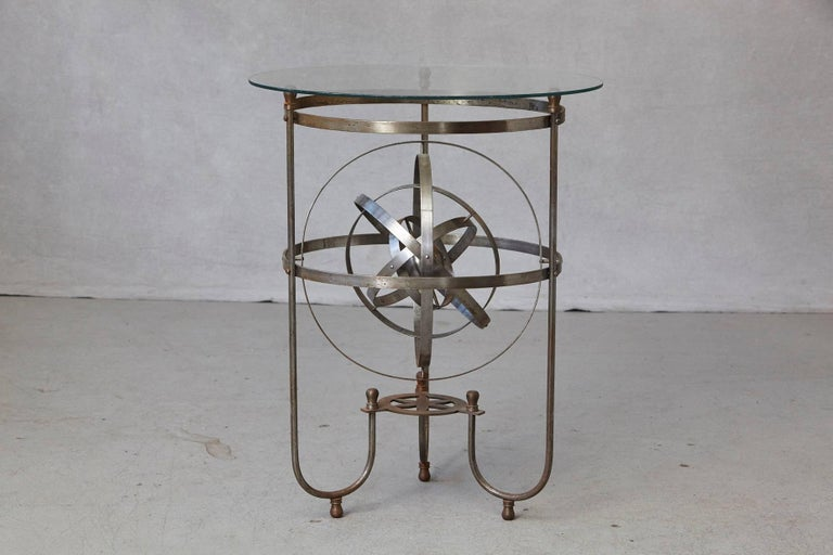 Art Deco Rare Kinetic Side Table with Revolving Orbital Motion, England, 1930s For Sale