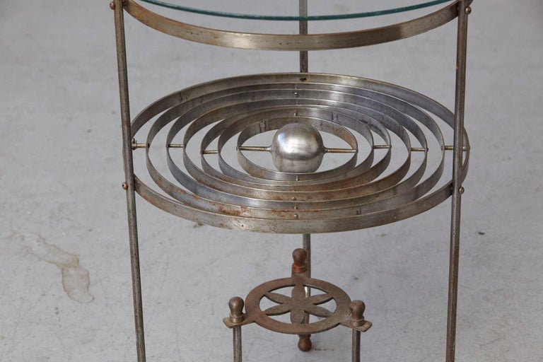English Rare Kinetic Side Table with Revolving Orbital Motion, England, 1930s For Sale