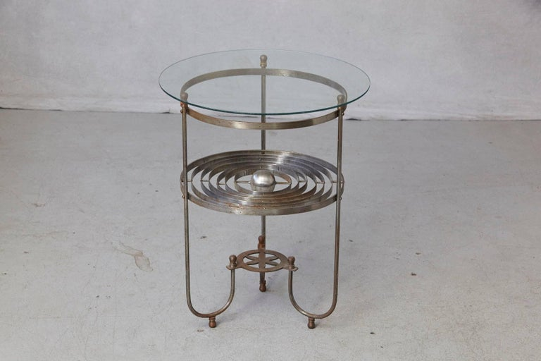 Rare Kinetic Side Table with Revolving Orbital Motion, England, 1930s In Good Condition For Sale In Westport, CT
