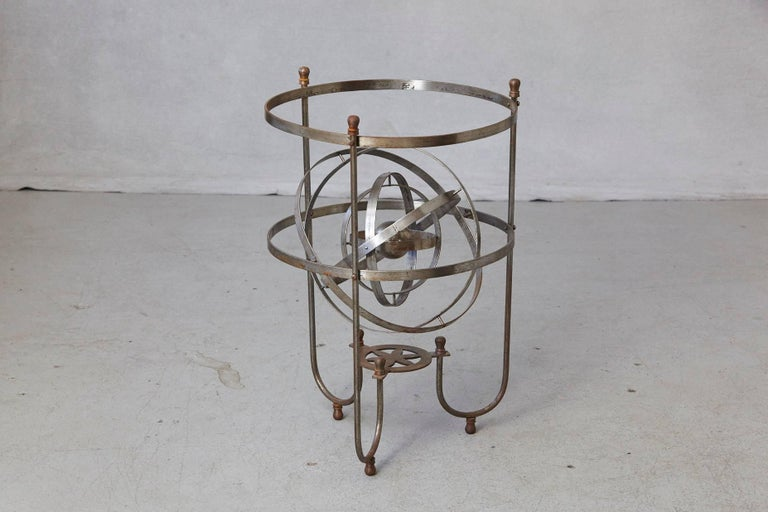 Steel Rare Kinetic Side Table with Revolving Orbital Motion, England, 1930s For Sale
