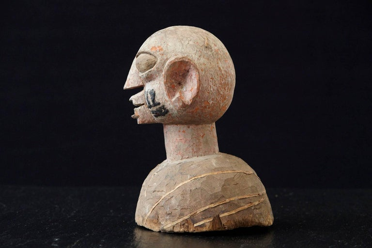 Nigerian Wooden Head of a Wife of an Ooni of Ile-Ife, Yoruba People, Nigeria, circa 1930s For Sale