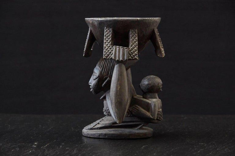 Tribal Woman Carrying Baby in a Papoose, Kola Nut Holder from Abeokuta, Nigeria, 1950s For Sale