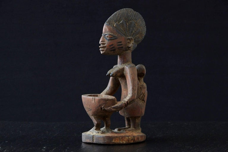 Tribal Woman Sacrificing Holding Offering Bowl, Yoruba People, Nigeria, 1940s For Sale