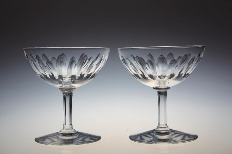 Set of Eight Baccarat Crystal 'Verone' Pattern Champagne Coupe, circa 1950s In Excellent Condition For Sale In Westport, CT