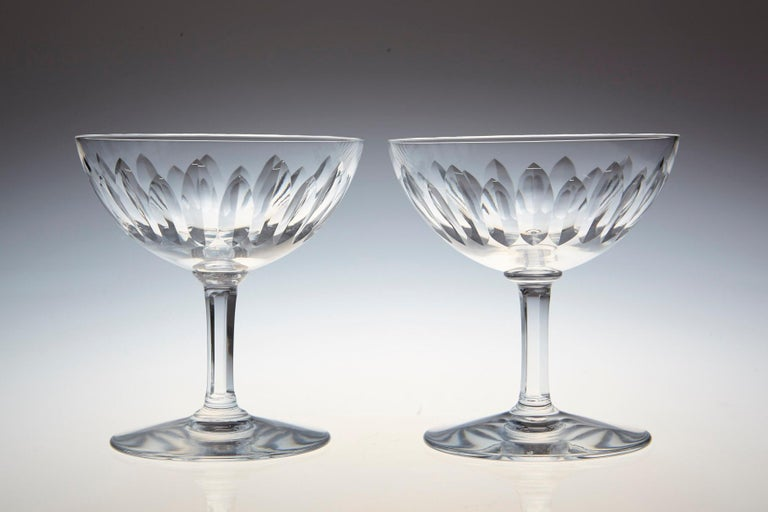 Mid-20th Century Set of Eight Baccarat Crystal 'Verone' Pattern Champagne Coupe, circa 1950s For Sale