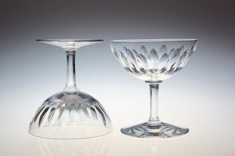 Set of Eight Baccarat Crystal 'Verone' Pattern Champagne Coupe, circa 1950s For Sale 1
