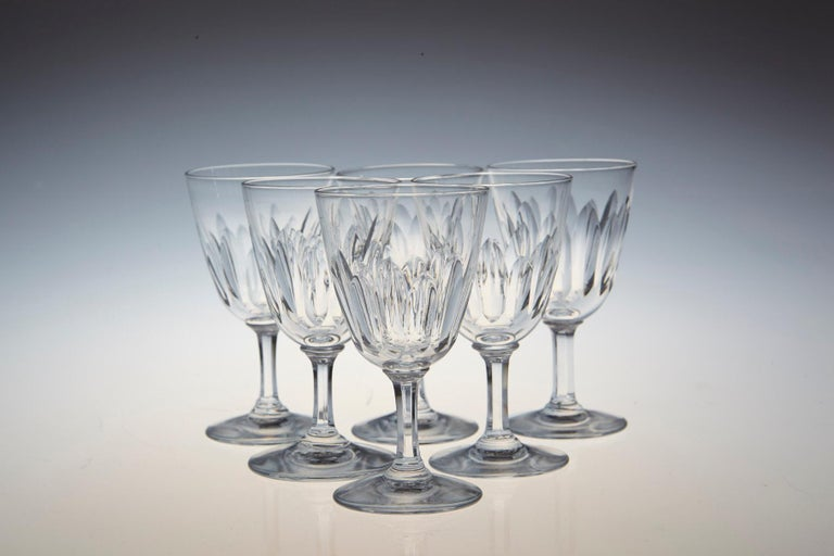 Mid-Century Modern Set of Six Baccarat Crystal 'Verone' Pattern Sherry or Port Glasses, circa 1950s For Sale