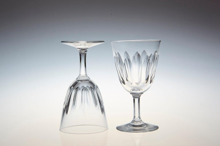 Mid-20th Century Set of Six Baccarat Crystal 'Verone' Pattern Sherry or Port Glasses, circa 1950s For Sale