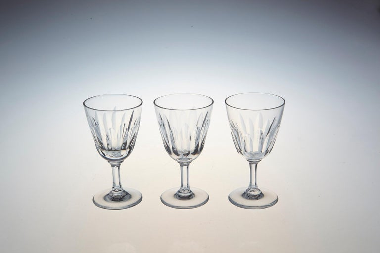 Set of Six Baccarat Crystal 'Verone' Pattern Sherry or Port Glasses, circa 1950s For Sale 3