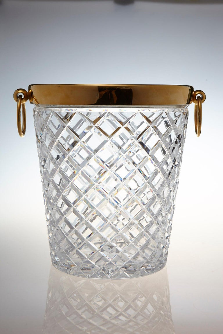Mid-Century Modern Belgian Crystal and Brass Ice Bucket, Saks Fifth Avenue's Guest and Gift, 1950s For Sale