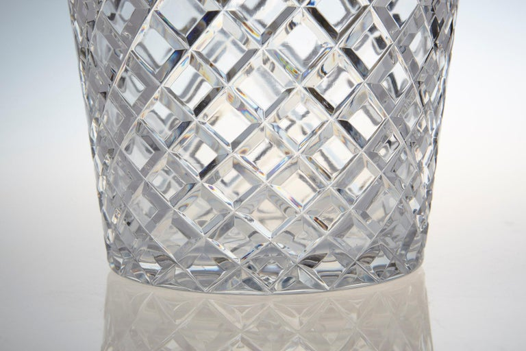 Plated Belgian Crystal and Brass Ice Bucket, Saks Fifth Avenue's Guest and Gift, 1950s For Sale