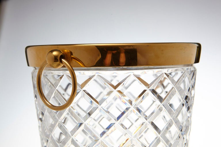 Belgian Crystal and Brass Ice Bucket, Saks Fifth Avenue's Guest and Gift, 1950s In Excellent Condition For Sale In Westport, CT