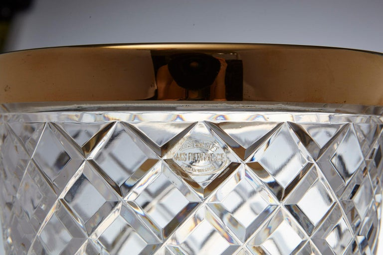 Mid-20th Century Belgian Crystal and Brass Ice Bucket, Saks Fifth Avenue's Guest and Gift, 1950s For Sale
