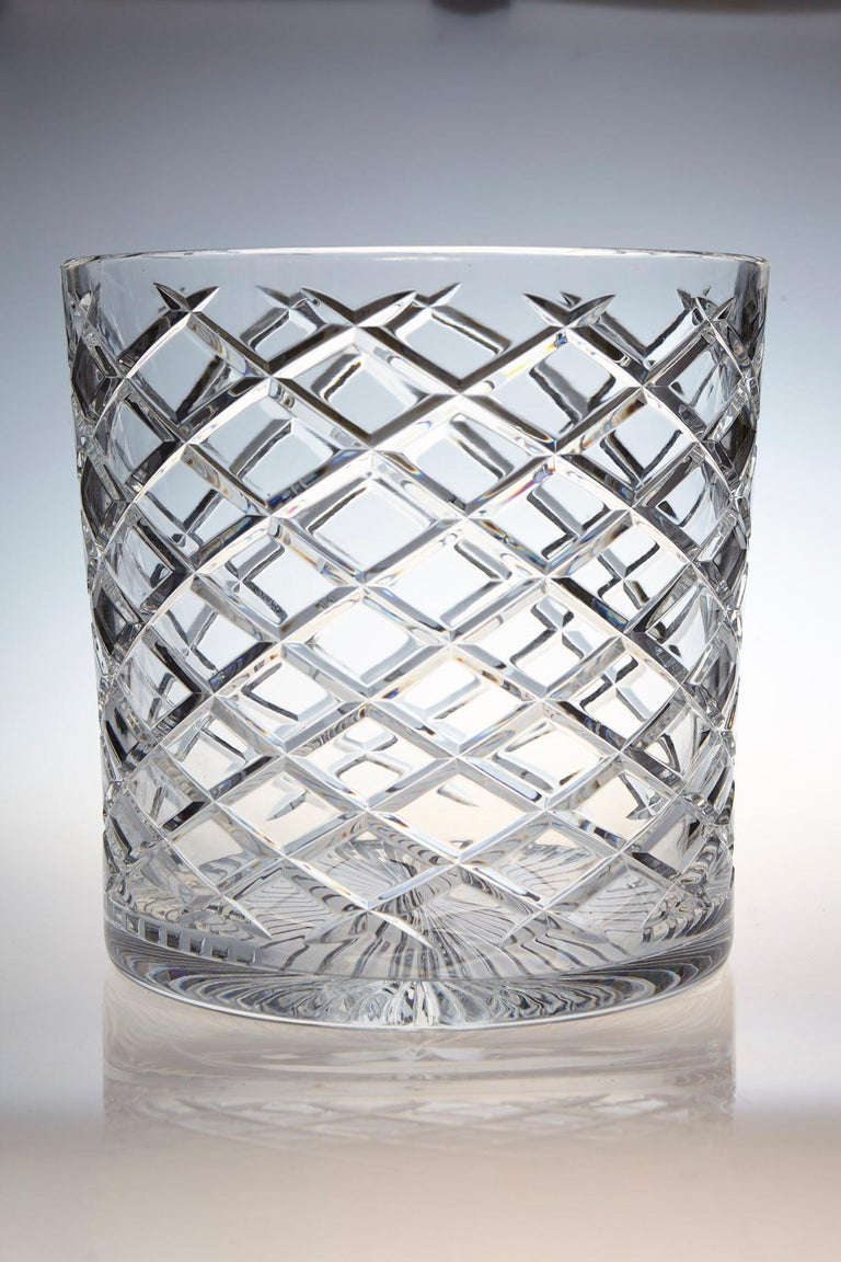 Extremely heavy and impressive French crystal wine cooler or champagne ice bucket for two bottles, with a diamond cut design. The diameter is 9.75 inches. The ice bucket is in excellent condition. France, circa 1960s.