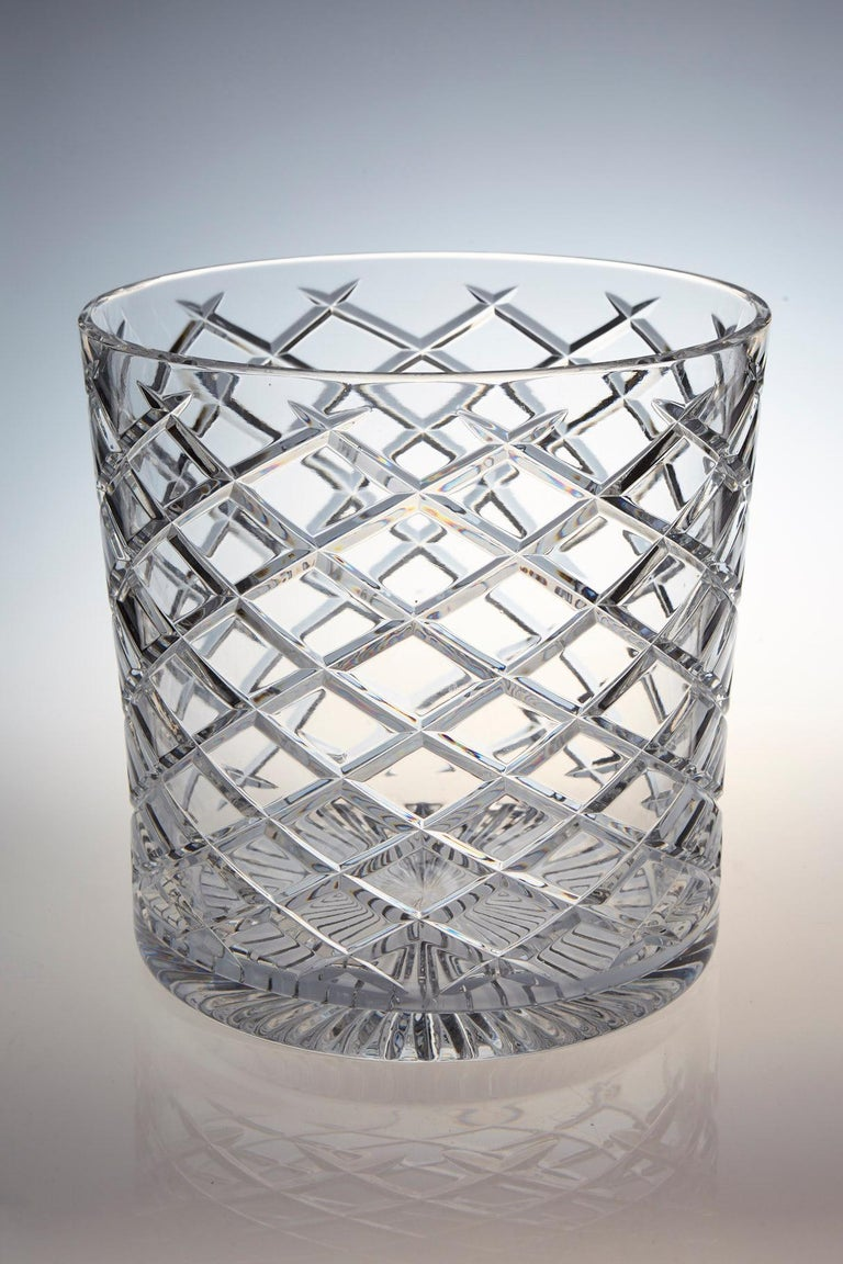 Mid-Century Modern French Cut Crystal Wine Cooler or Champagne Ice Bucket for Two Bottles For Sale