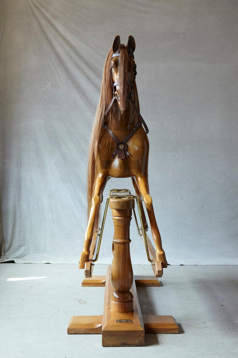 Extra Large Custom Made Oak Rocking Horse by Stevenson Brothers, England For Sale 10