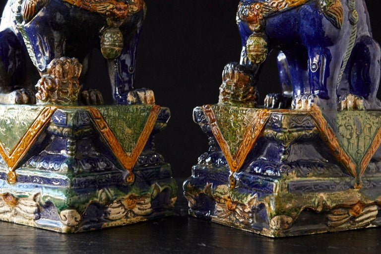 Late 19th Century Set of Two Large Chinese Sancai Glaze Foo Dogs For Sale 8